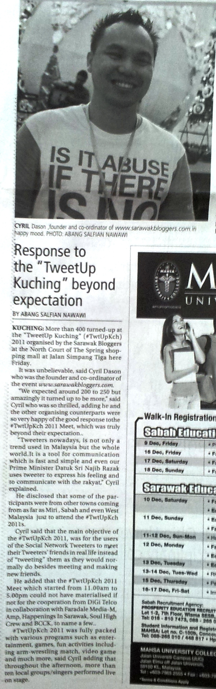 Response to TwtUpKch beyond expectations - New Sarawak Tribune